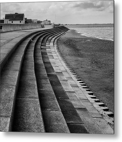 Monochromephotography Metal Print featuring the photograph North Beach, Heacham, Norfolk, England by John Edwards