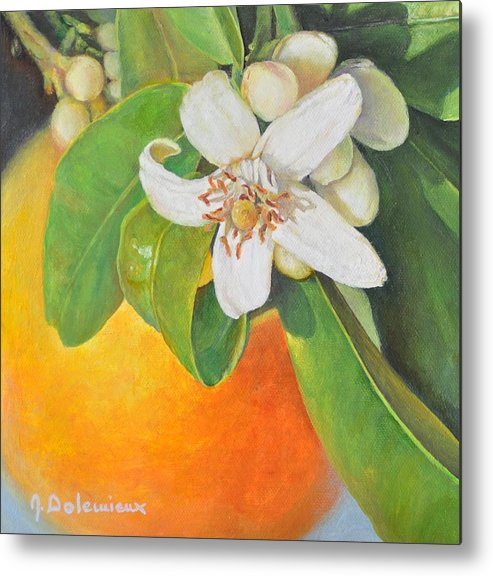 Acrylic Painting Metal Print featuring the painting Nouvelle Orange by Muriel Dolemieux