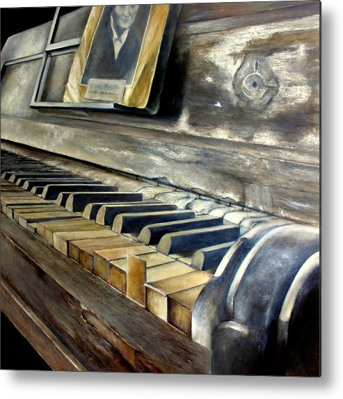 Old Metal Print featuring the painting Old Piano by Tomas Castano