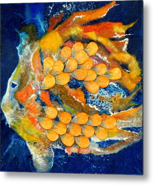 Mixed Media Metal Print featuring the painting One Fish by Tara Milliken