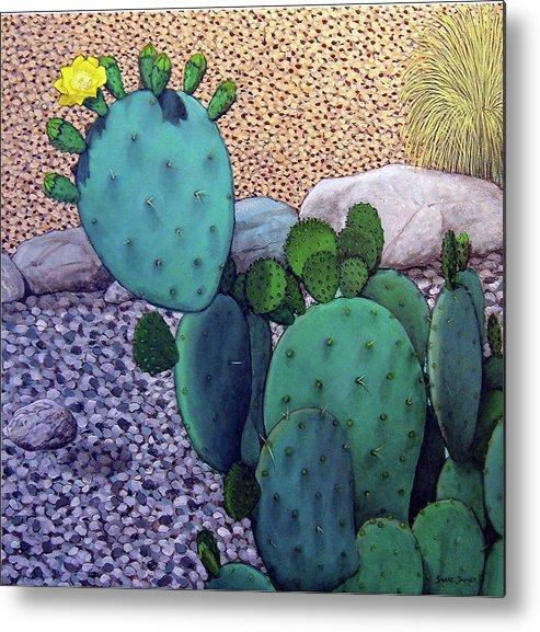 Landscape Metal Print featuring the painting Opuntia by Snake Jagger