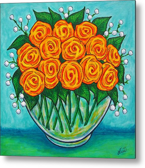 Orange Metal Print featuring the painting Orange Passion by Lisa Lorenz
