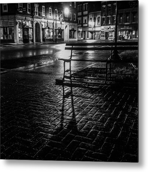 Metal Print featuring the photograph Park bench on a rainy night by Kendall McKernon