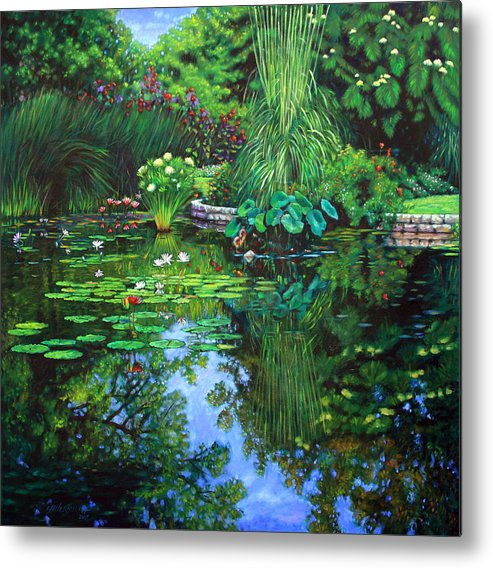 Landscape Metal Print featuring the painting Peace Floods my Soul by John Lautermilch