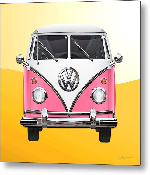 'volkswagen Type 2' Collection By Serge Averbukh Metal Print featuring the photograph Pink and White Volkswagen T 1 Samba Bus on Yellow by Serge Averbukh