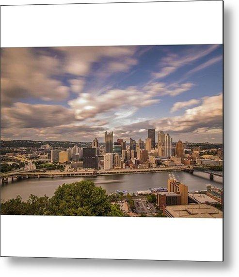 Bridge Metal Print featuring the photograph Pittsburgh Long Exposure Skyline. The by David Haskett II
