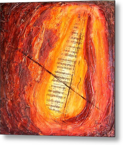 Music Metal Print featuring the painting Poesial Visual by Ivan Guaderrama
