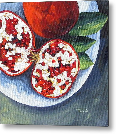 Pomegranate Metal Print featuring the painting Pomegranates on a Plate by Torrie Smiley