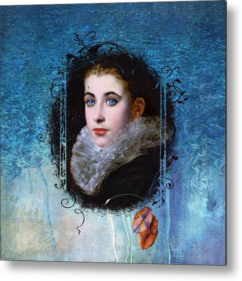 Women.vintage Metal Print featuring the painting Portal Portrait by Laura Botsford