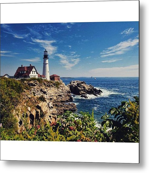 Mymaine Metal Print featuring the photograph #portland #lighthouse #maine by Luisa Azzolini