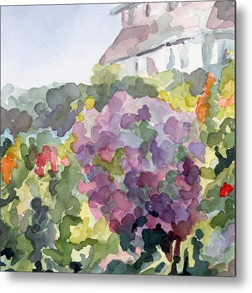French Metal Print featuring the painting Purple Blossoms Monets Garden Watercolor Paintings of France by Beverly Brown Prints