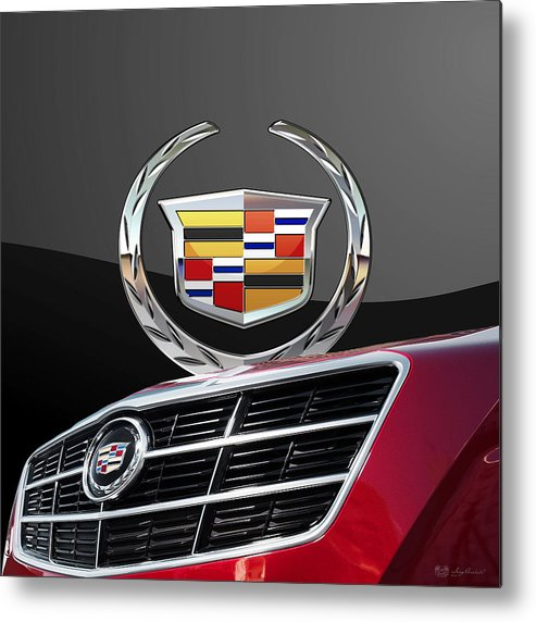 'auto Badges' By Serge Averbukh Metal Print featuring the photograph Red Cadillac C T S - Front Grill Ornament and 3D Badge on Black by Serge Averbukh