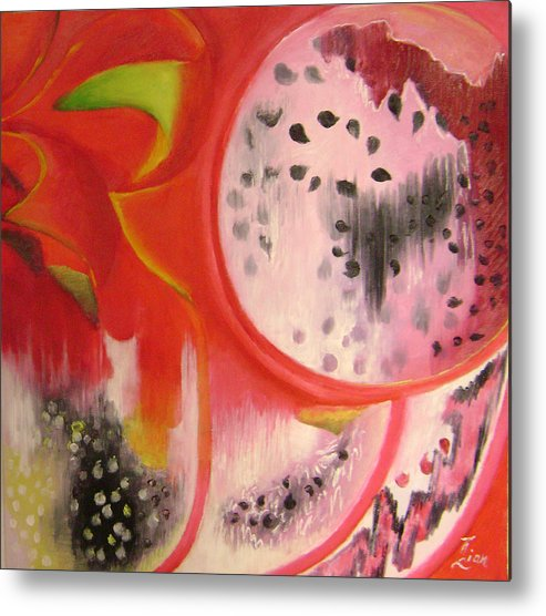 Abstract Metal Print featuring the painting Red Ecstasy 1 by Lian Zhen