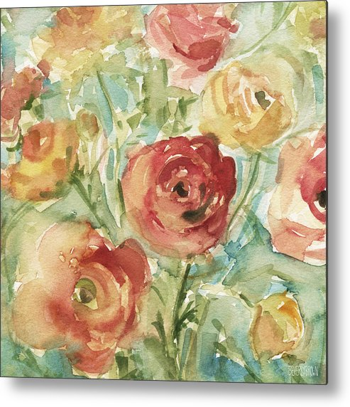Floral Metal Print featuring the painting Red Orange And Yellow Ranunculus by Beverly Brown