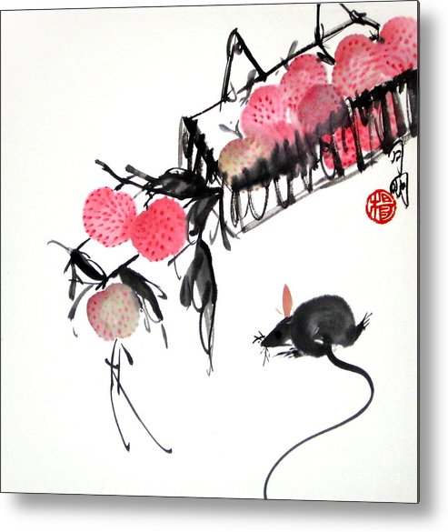 Chinese Painting Metal Print featuring the painting Red Temptation by Ming Yeung