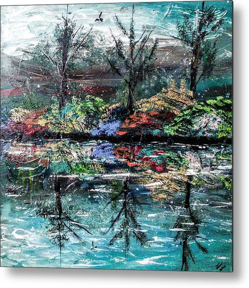 Woods Metal Print featuring the painting Reflections by Valerie Josi