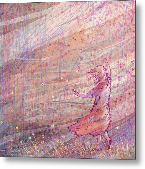 Abstract Metal Print featuring the digital art Releasing The Daisies by William Russell Nowicki