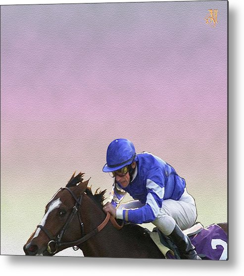 Horse Race Metal Print featuring the digital art Ride to Glory by John Helgeson