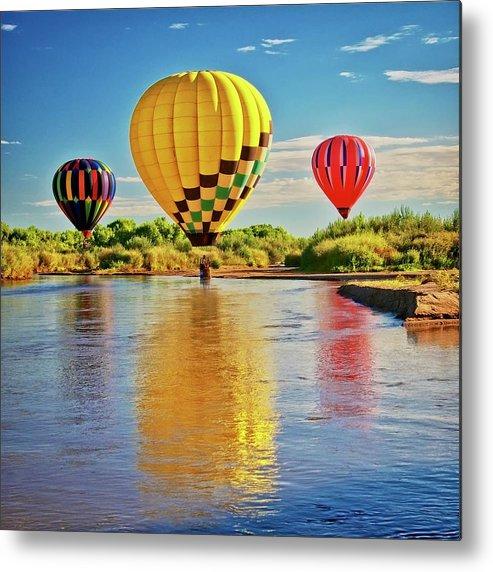 Fine Art Photography Metal Print featuring the photograph Rio Grande balloon Reflection, Albuquerque, NM by Zayne Diamond Photographic