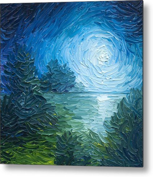 Nature; Lake; Sunset; Sunrise; Serene; Forest; Trees; Water; Ripples; Clearing; Lagoon; James Christopher Hill; Jameshillgallery.com; Foliage; Sky; Realism; Oils; Moon; Moonlight; Reflection; Blue; Lapis Metal Print featuring the painting River Moon by James Christopher Hill