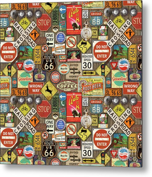Route 66 Metal Print featuring the painting Roads Signs On Wood-jp3958-b by Jean Plout