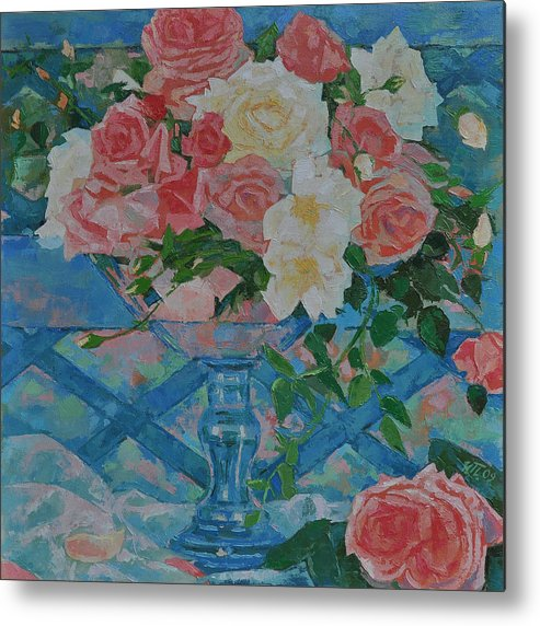 Roses Metal Print featuring the painting Roses by Iliyan Bozhanov