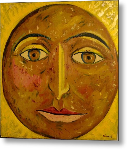 Face Metal Print featuring the painting Round face by Biagio Civale