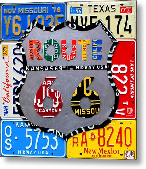Route 66 Highway Road Sign License Plate Art Travel License Plate Map Metal Print featuring the mixed media Route 66 Highway Road Sign License Plate Art by Design Turnpike