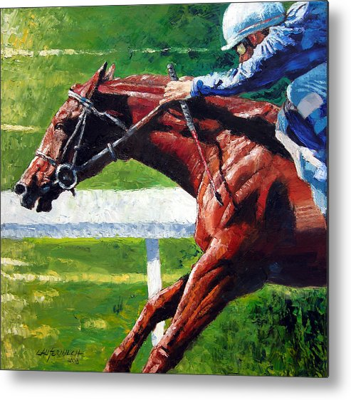 Horse Race Metal Print featuring the painting Running Towards The Light by John Lautermilch