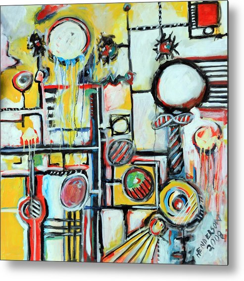 Abstract Metal Print featuring the painting Sea Creatures by Michael Henderson