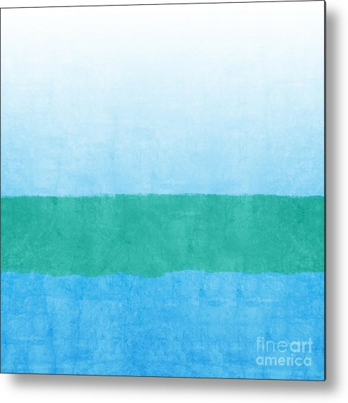 Abstract Metal Print featuring the mixed media Sea of Blues by Linda Woods