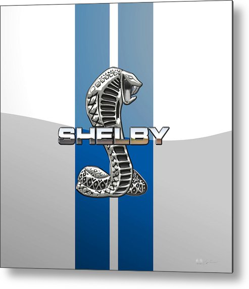 'auto Badges' Collection By Serge Averbukh Metal Print featuring the photograph Shelby Cobra - 3D Badge by Serge Averbukh