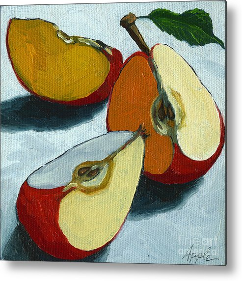 Apple Metal Print featuring the painting Sliced Apple still life oil painting by Linda Apple