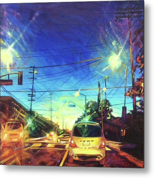Traffic Metal Print featuring the painting Speed of Light by Bonnie Lambert