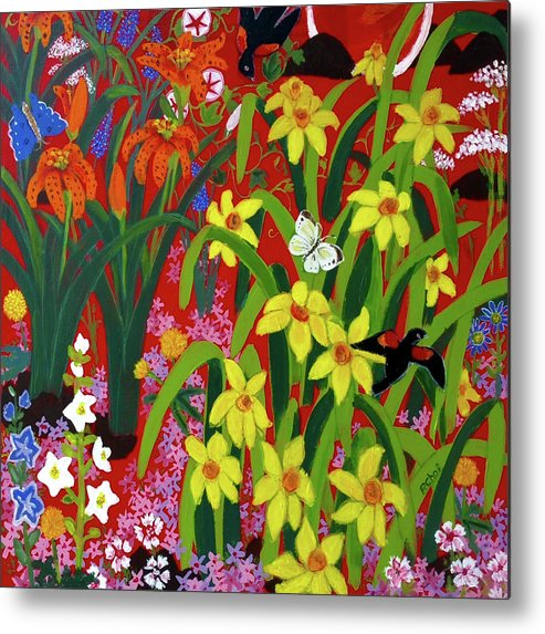 Spring Metal Print featuring the painting Spring Garden with Red-winged Black Bird I by Piety Choi