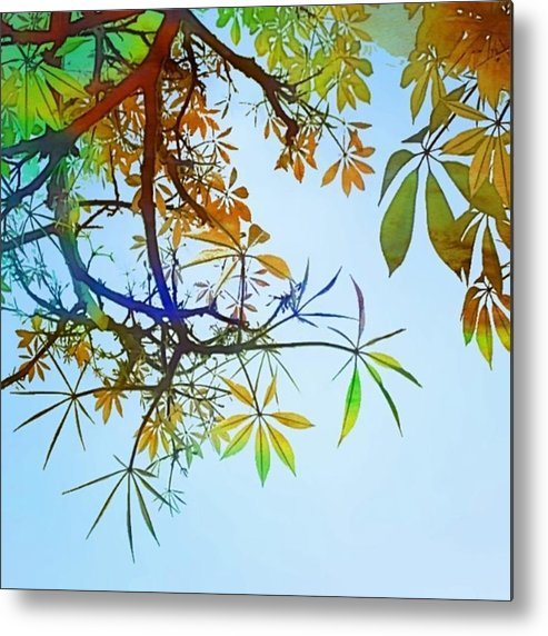 Decor Metal Print featuring the photograph #spring #tree #leaves With #watercolor by Shari Warren