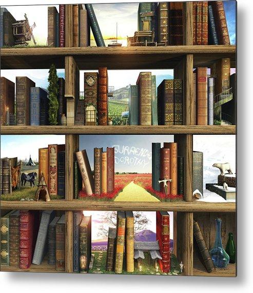 Books Metal Print featuring the digital art StoryWorld by Cynthia Decker