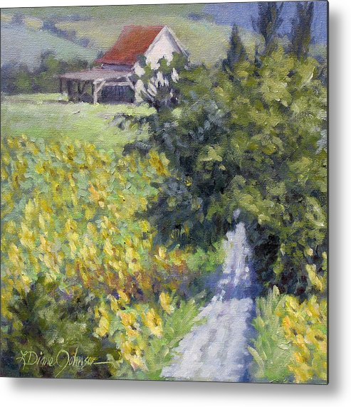 French Sunflowers Metal Print featuring the painting Sunflower Dream by L Diane Johnson