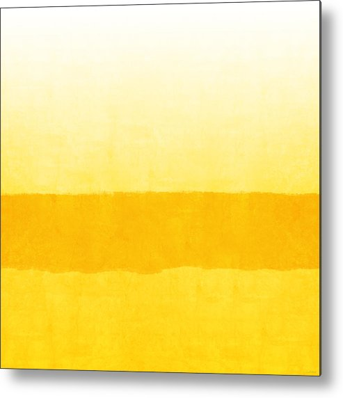 Abstract Metal Print featuring the painting Sunrise- Yellow Abstract Art by Linda Woods by Linda Woods