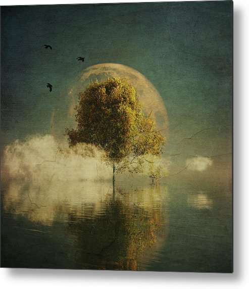 Birch Metal Print featuring the painting Surrealistic landscape with yellow birch and full moon by Jan Keteleer