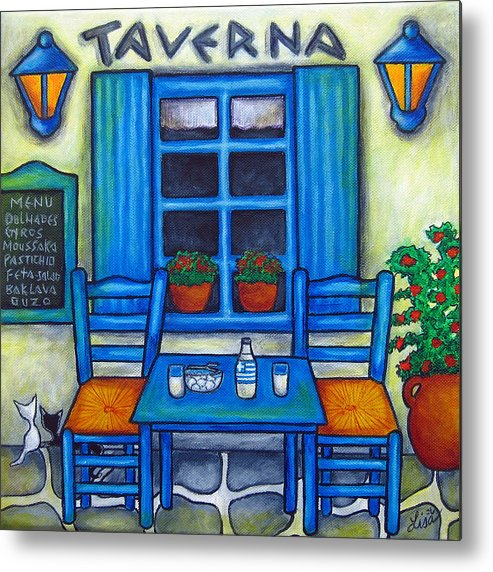Blues Metal Print featuring the painting Table for Two in Greece by Lisa Lorenz