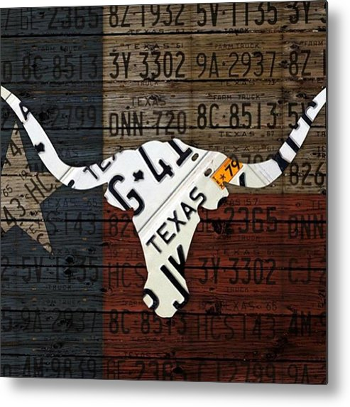 Art Metal Print featuring the photograph #texas #longhorn #recycled #vintage by Design Turnpike