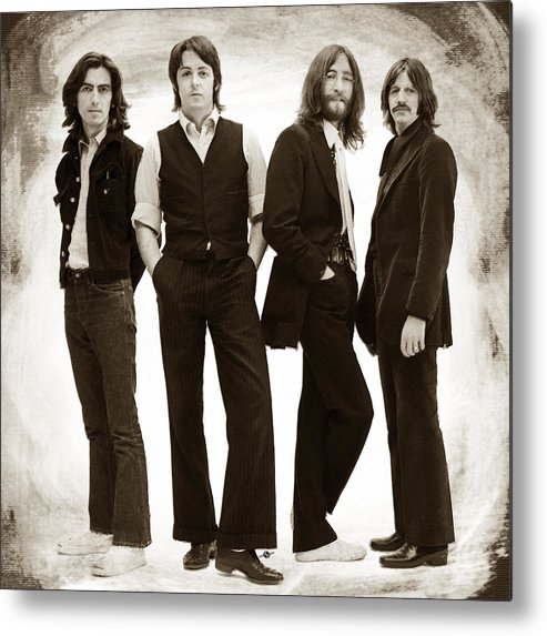 The Beatles Metal Print featuring the painting The Beatles Painting Late 1960s Early 1970s Sepia by Tony Rubino