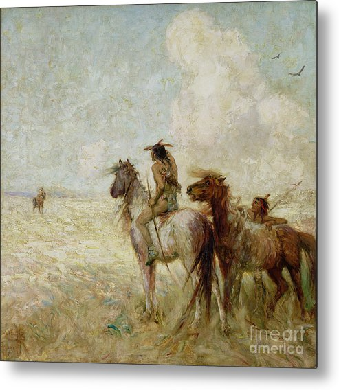The Metal Print featuring the painting The Bison Hunters by Nathaniel Hughes John Baird