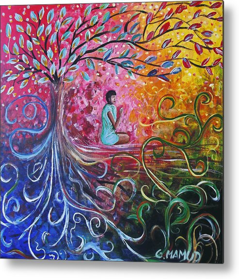 Abstract Metal Print featuring the painting The Buddha Started by Mac Mood