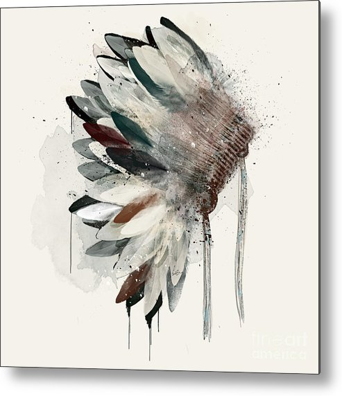 Native Headdress Metal Print featuring the painting The Headdress by Bri Buckley