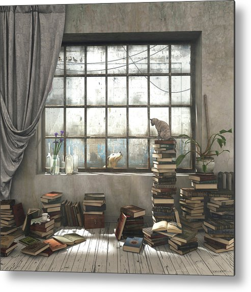 Books Metal Print featuring the digital art The Introvert by Cynthia Decker