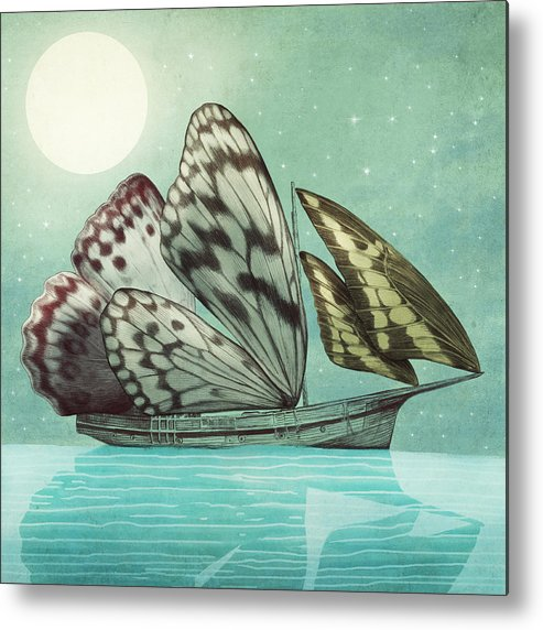 Butterfly Metal Print featuring the drawing The Voyage by Eric Fan
