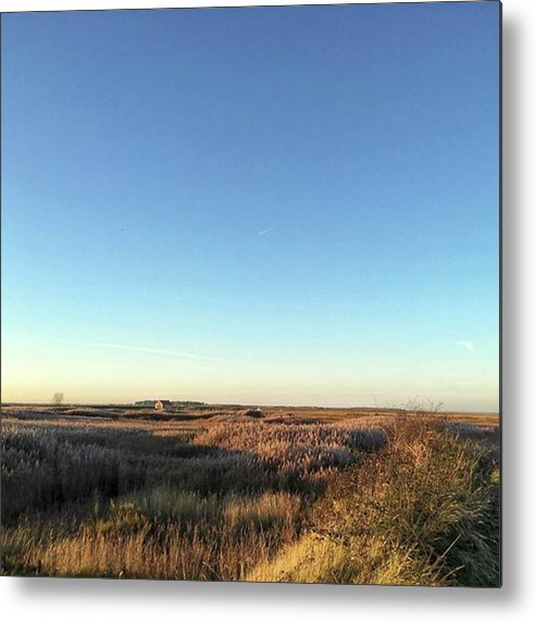 Natureonly Metal Print featuring the photograph Thornham Marsh Lit By The Setting Sun by John Edwards