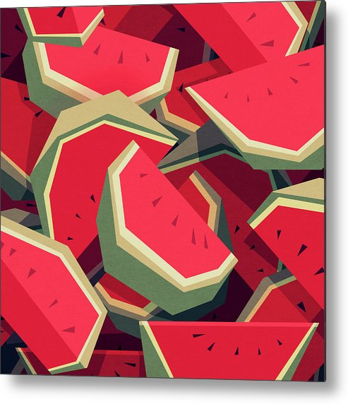 Watermelon Metal Print featuring the digital art Too many watermelons by Yetiland